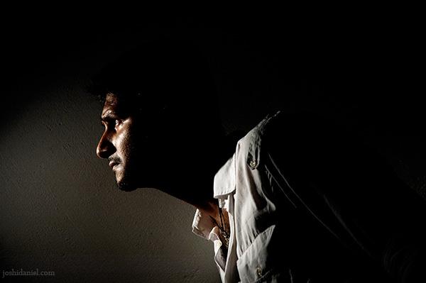 Low-key portrait of male model Siddharth Reghunath
