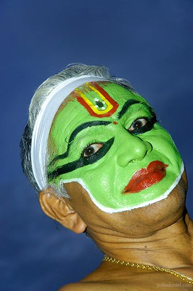 Portrait of Ottam Thullal artist Kalamandalam Prabhakaran