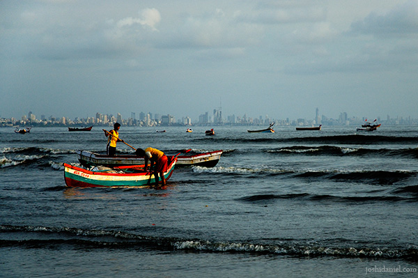 A day's end for fishermen at Versova in Mumbai, India