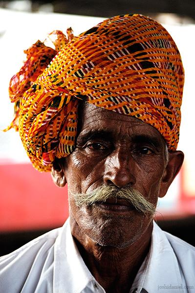 Portrait of an old man wearing turban