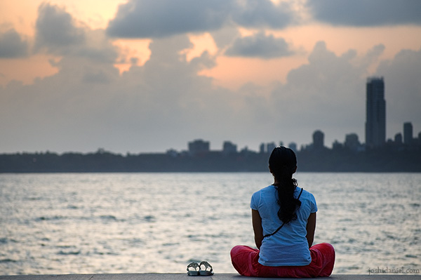 A relaxed Girl at Marine Drive, Mumbai, India