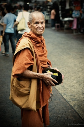 A buddhist monk from China Town, Petaling street in Kuala Lumpur, Malaysia
