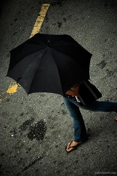 Overhead shot of a girl with umbrella walking in Bukit Bintang, Kuala Lumpur, Malaysia