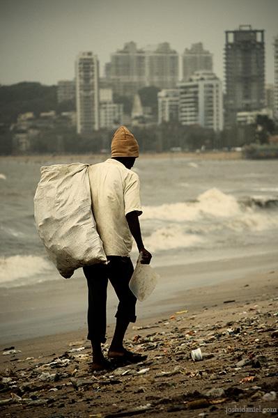 A waste picker from Chowpatty beach in Mumbai, India