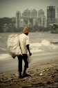 a waste picker from chowpatty beach in mumbai india