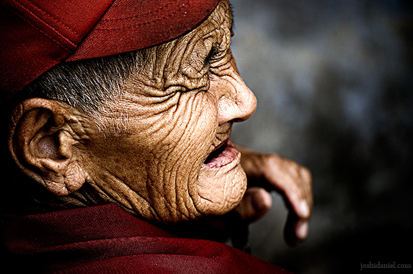 Portrait of an old lady with wrinkles from Dharamsala, India