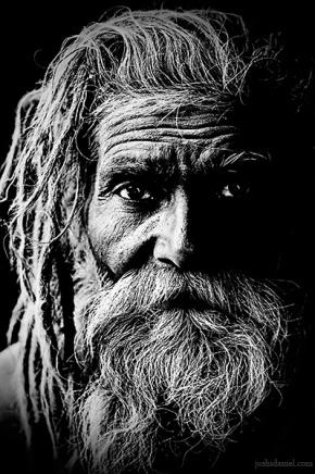 Black and white portrait of a naga sadhu from Kumbh Mela 2010 in Haridwar