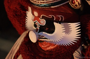 Chuvanna thadi (red beard) make-up of dussasana in kathakali