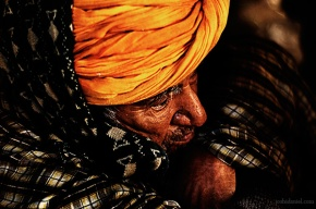 Portrait of man on a cold day from Jaisalmer, Rajasthan