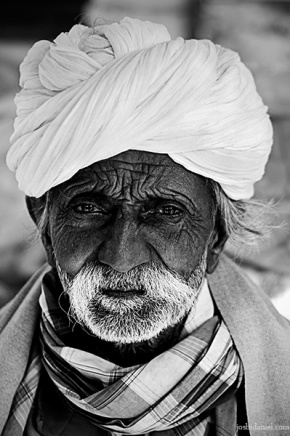 Portrait of an old man with turban from Ramgarh in Rajasthan