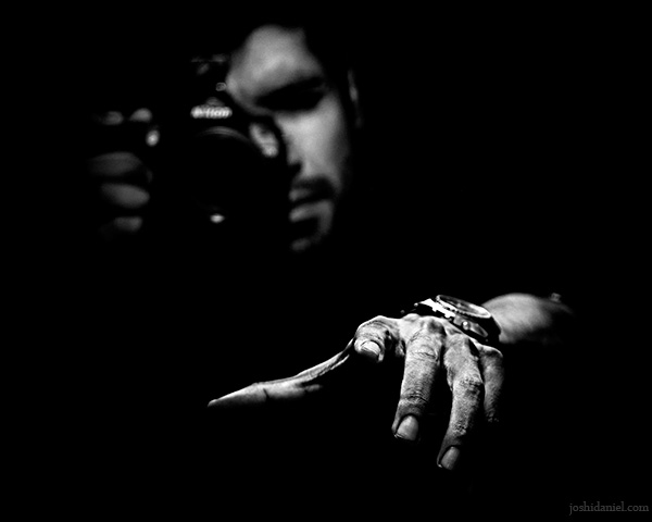 Black and white self-portrait of joshi daniel