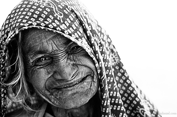 Smiling portrait of an old woman from Rajasthan
