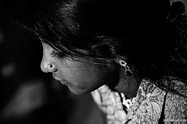 Black and white portrait of a young girl from the Kala Ghoda Arts Festival in Mumbai