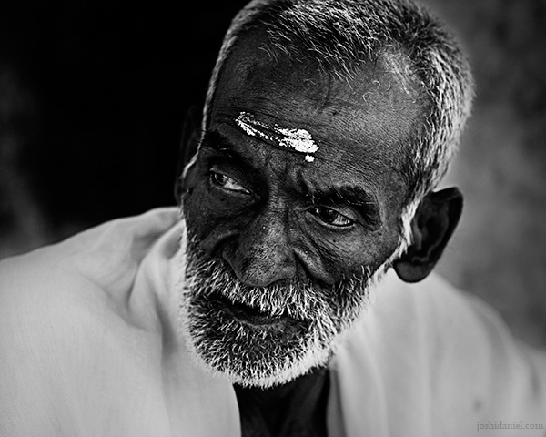 Black and white portrait of an old man from Trivandrum