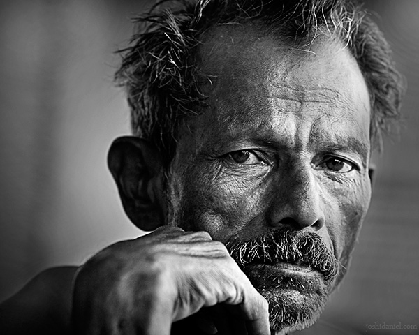 Black and white portrait of a man from Chala Market in Trivandrum