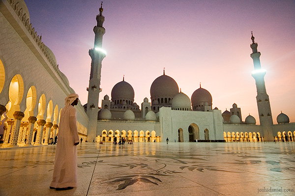 An Arab boy at Sheikh Zayed Grand Mosque in Abu Dhabi