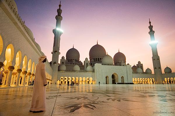 An Arab boy at Sheikh Zayed Grand Mosque in Abu Dhabi