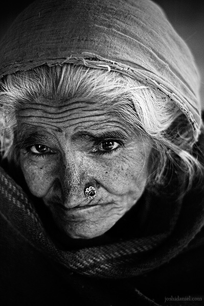 Black and white portrait of an old woman from Rajathan