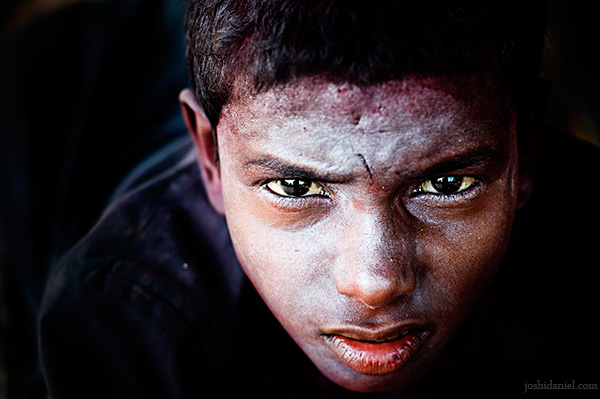 Portrait of a boy taken during holi the festival of colors from Mumbai