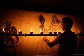 Tholpavakoothu (Shadow puppetry) performance at Vyloppilly Samskriti Bhavan in Trivandrum, Kerala