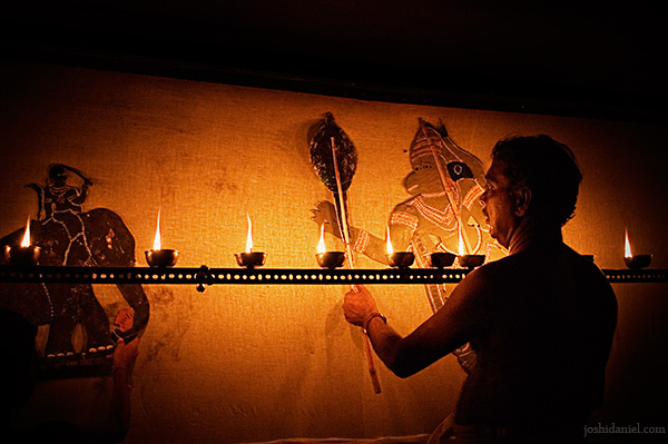 Tholpavakoothu (Shadow puppetry) performance at Vyloppilly Samskriti Bhavan in Trivandrum, Kerala