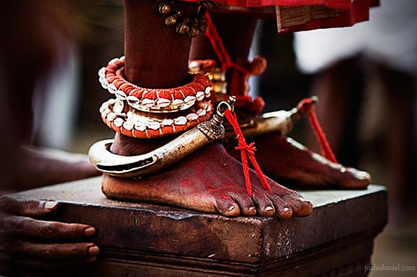 Feet of a Kathivanoor Veeran Theyyam performer