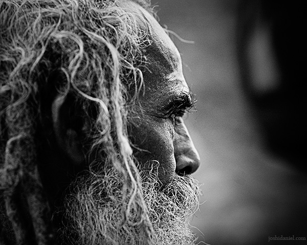 Black and white portrait of a bearded old man from Trivandrum, Kerala