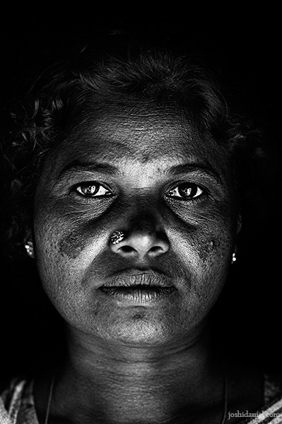 Black and white portrait of an Irula tribe woman of Attappadi in Palakkad district of Kerala