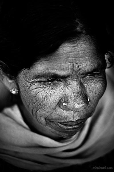 Black and white portrait of an Kurumba tribe woman of Attappadi in Palakkad district of Kerala