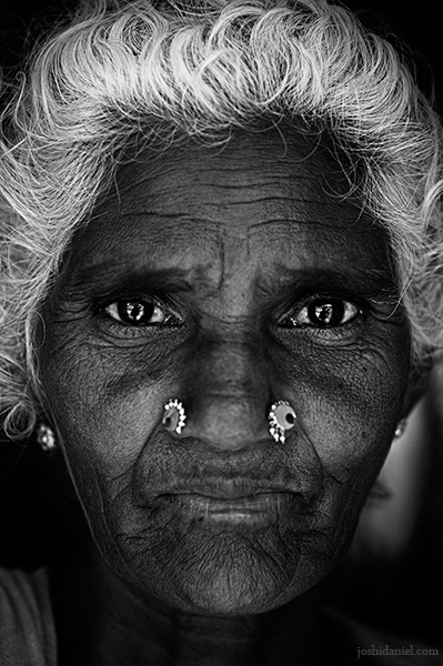 Black and white portrait of a Mudugar tribe woman of Attappadi in Palakkad district of Kerala