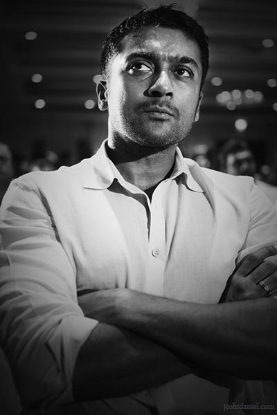 Black and white portrait of Tamil cinema actor Suriya