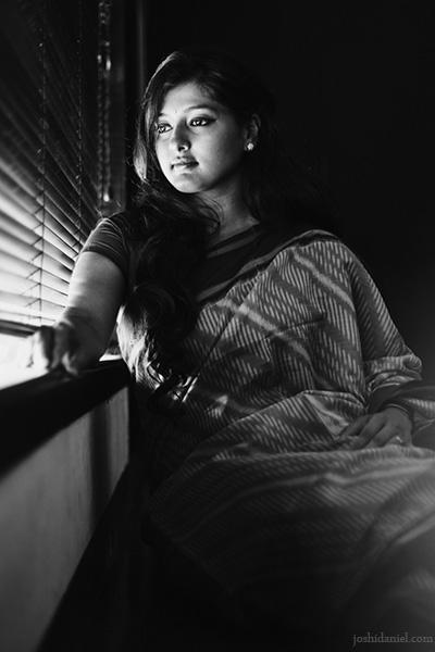 Black and white portrait of Indian actress and choreographer Gayathri Raguram