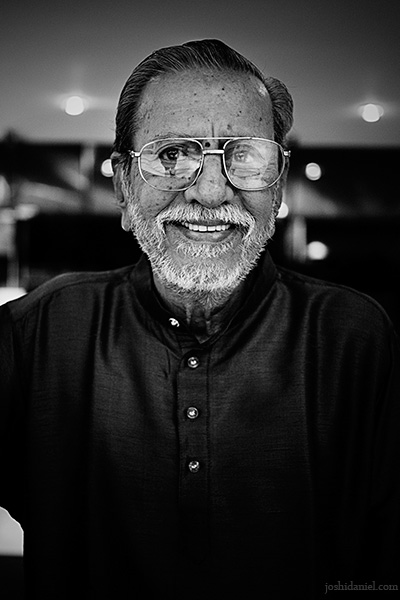 Black and white portrait of Indian film actor Charuhasan