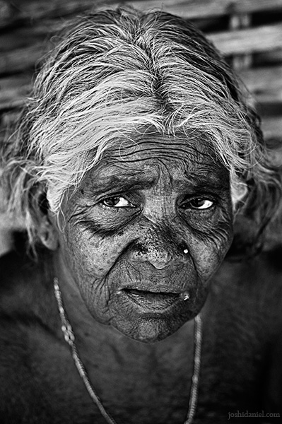 Black and white portrait of an old Irula tribe woman of Attappadi in Palakkad district of Kerala