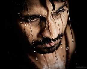 Portrait of Job Kurian drenched in water
