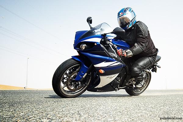 Jameel Kamaludheen riding a Yamaha YZF-R1