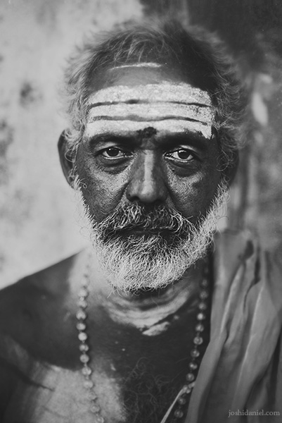 An old man in Mylapore, Chennai with Vibhuti smeared on his forehead