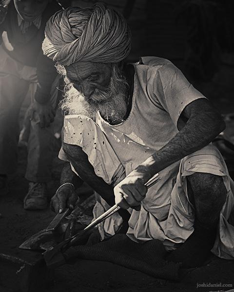 A Rajasthani blacksmith at work in Jaisalmer