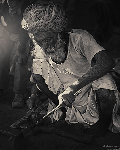 A Rajasthani blacksmith at work in Jaisalmer