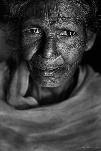Black and white portrait of a Mudugar tribe woman from Attappadi in Palakkad district of Kerala