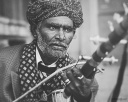 Black and white portrait of a Ravanahatha player from Jaisalmer, Rajasthan