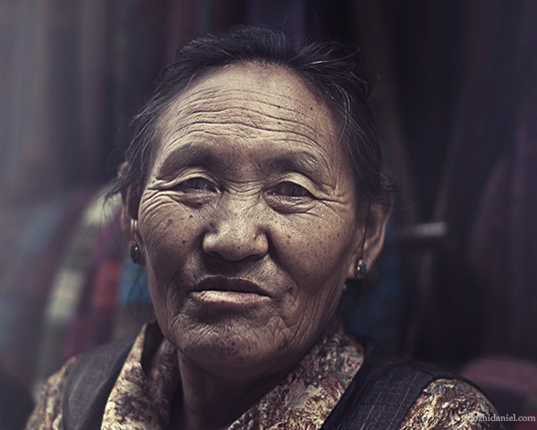 Portrait of an old woman form McLeod Ganj, Dharamsala