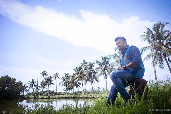 Malayalam film actor Indrajith Sukumaran sitting in a coconut grove in Ernakulam, Kerala