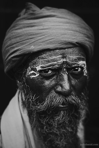Black and white portrait of a Sadhu in Mumbai, India
