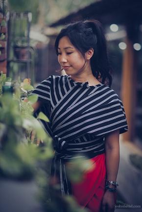 Portrait of fashion blogger Lily Tjon wearing a Lulu Lufti Labibi design in Yogyakarta, Indonesia