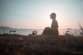 Nicole Fung watching the sun set in Labuan Bajo, Indonesia