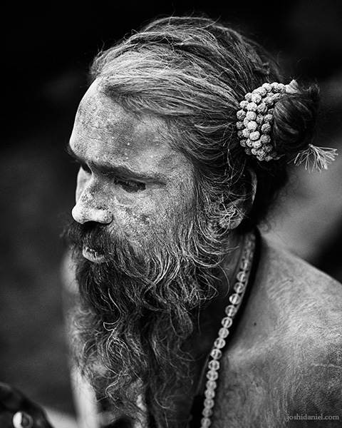 Black and white portrait of a sadhu at the Nashik Kumbh mela