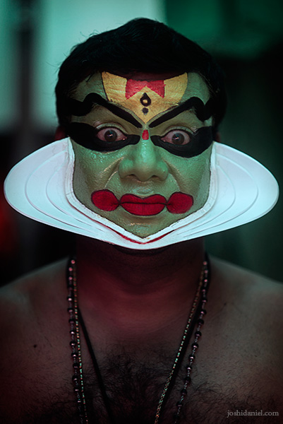 Portrait of a Kathakali artist from Trivandrum, Kerala with make-up