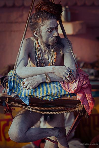 Naga Sadhu standing on one leg in Varanasi, Uttar Pradesh