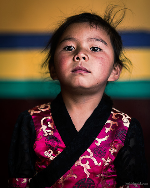Portrait of a little girl in Stakna Monastery (Stakna Gompa) in Leh, Jammu and Kashmir, India